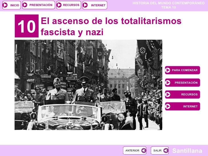 10 El ascenso de los totalitarismos fascista y nazi PARA COMENZAR PRESENTACIÓN RECURSOS INTERNET