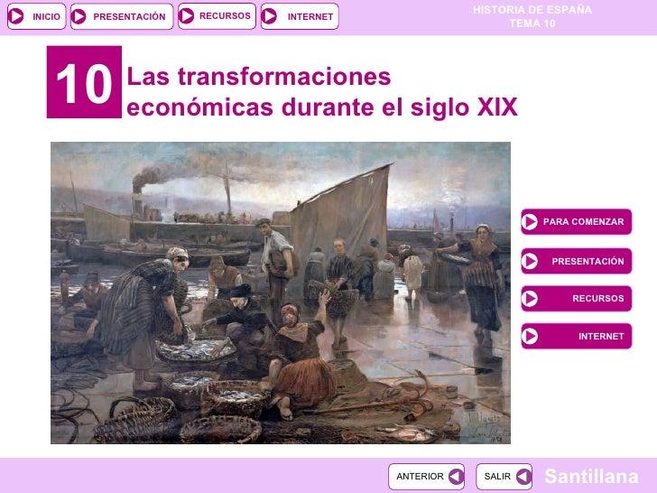 10 Las transformaciones económicas durante el siglo XIX PARA COMENZAR PRESENTACIÓN RECURSOS INTERNET