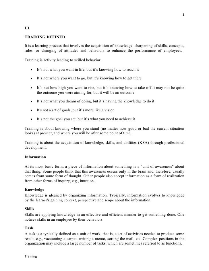 1U1TRAINING DEFINEDIt is a learning process that involves the acquisition of knowledge, sharpening of skills, concepts,rul...