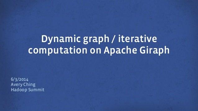 Dynamic graph / iterative computation on Apache Giraph 6/3/2014 Avery Ching Hadoop Summit