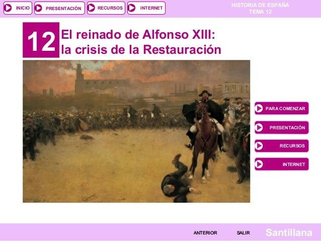 HISTORIA DE ESPAÑA TEMA 12 RECURSOS INTERNETPRESENTACIÓN Santillana INICIO SALIRSALIRANTERIORANTERIOR 12 El reinado de Alf...