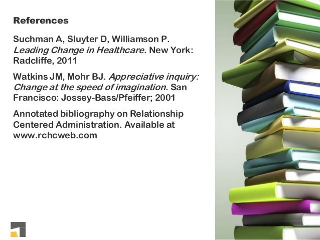 References Suchman A, Sluyter D, Williamson P. Leading Change in Healthcare. New York: Radcliffe, 2011 Watkins JM, Mohr BJ...