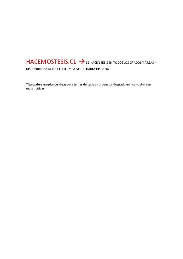 Temas para tesis de licenciatura en matematicas
