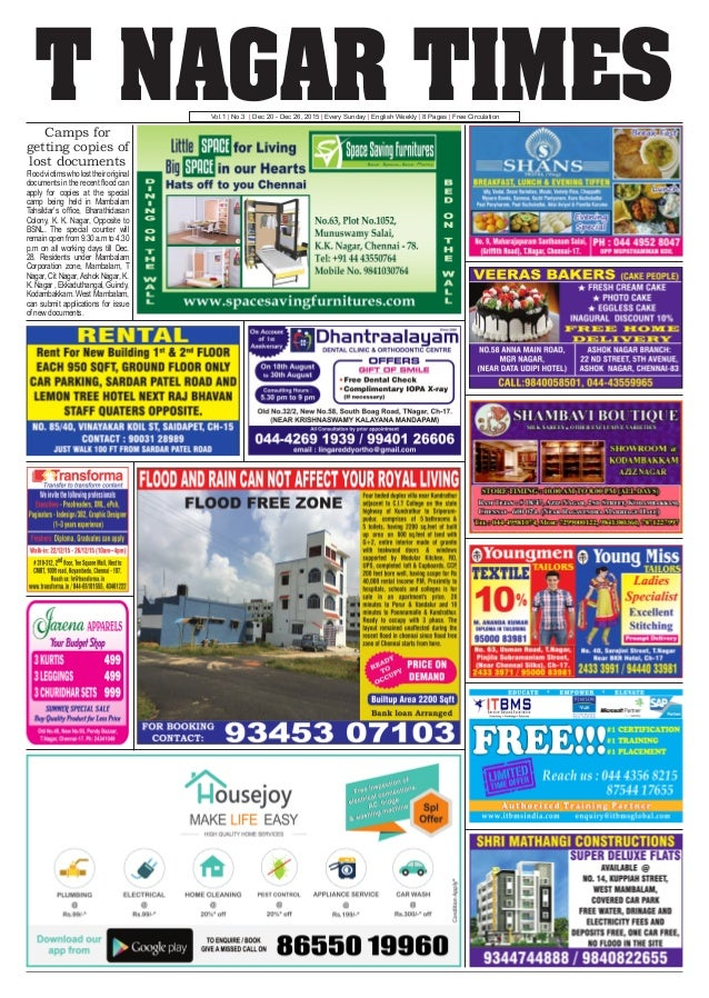 T NAGAR TIMESVol.1 | No.3 | Dec 20 - Dec 26, 2015 | Every Sunday | English Weekly | 8 Pages | Free Circulation Camps for g...