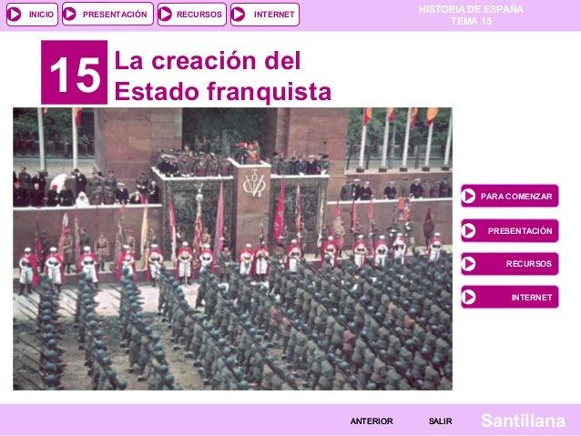 HISTORIA DE ESPAÑA TEMA 15 RECURSOS INTERNETPRESENTACIÓN Santillana INICIO SALIRSALIRANTERIORANTERIOR 15 La creación del E...