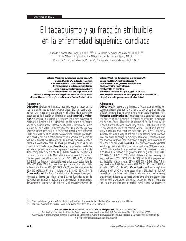 ARTÍCULO ORIGINAL S34 salud pública de méxico / vol.44, suplemento 1 de 2002 Salazar-Martínez E y col. El tabaquismo y su ...