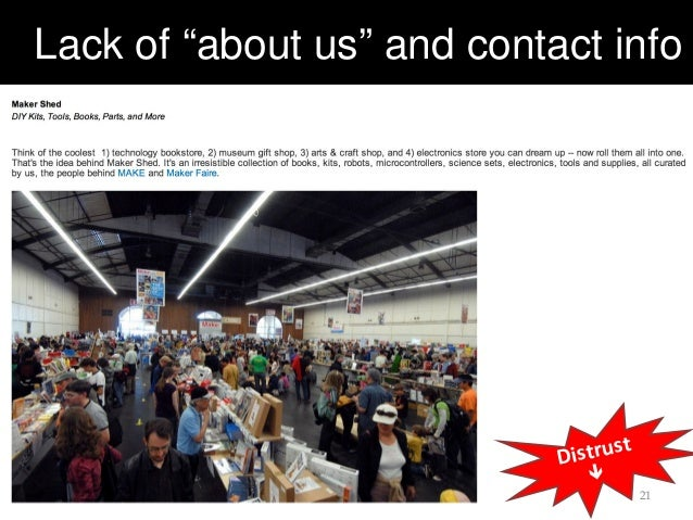 """Lack of """"about us"""" and contact info 21 Distrust """