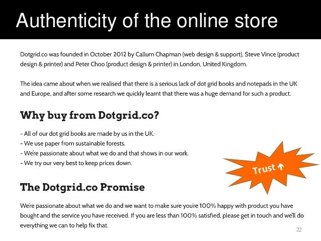 Authenticity of the online store 22 Trust 