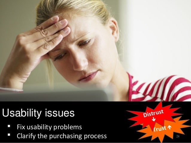 Usability issues Trust  Fix usability problems  Clarify the purchasing process Distrust  24