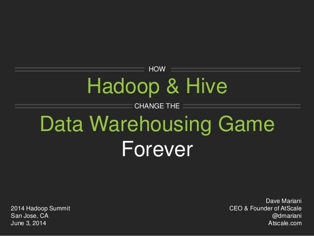Hadoop & Hive HOW Data Warehousing Game CHANGE THE Forever Dave Mariani CEO & Founder of AtScale @dmariani Atscale.com 201...