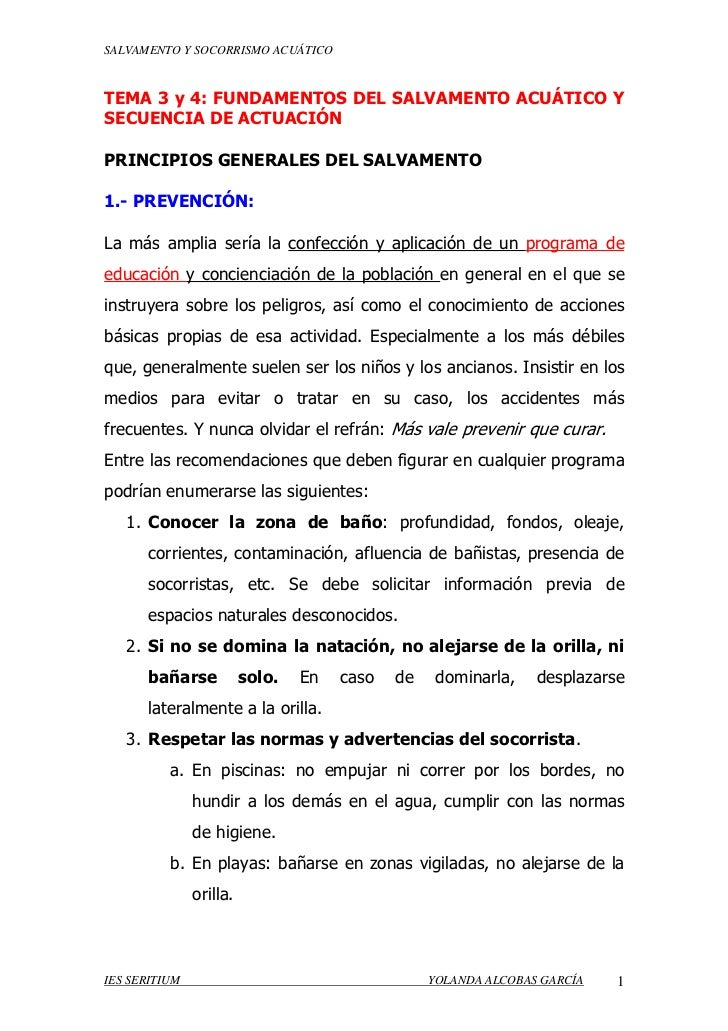 SALVAMENTO Y SOCORRISMO ACUÁTICOTEMA 3 y 4: FUNDAMENTOS DEL SALVAMENTO ACUÁTICO YSECUENCIA DE ACTUACIÓNPRINCIPIOS GENERALE...
