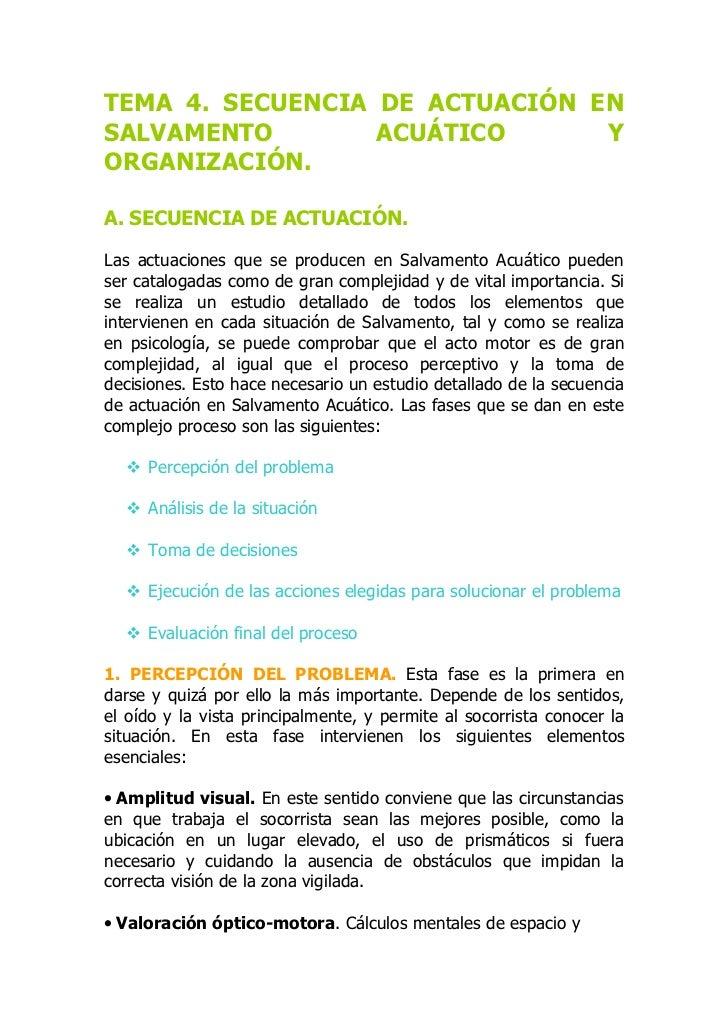 TEMA 4. SECUENCIA DE ACTUACIÓN ENSALVAMENTO        ACUÁTICO      YORGANIZACIÓN.A. SECUENCIA DE ACTUACIÓN.Las actuaciones q...