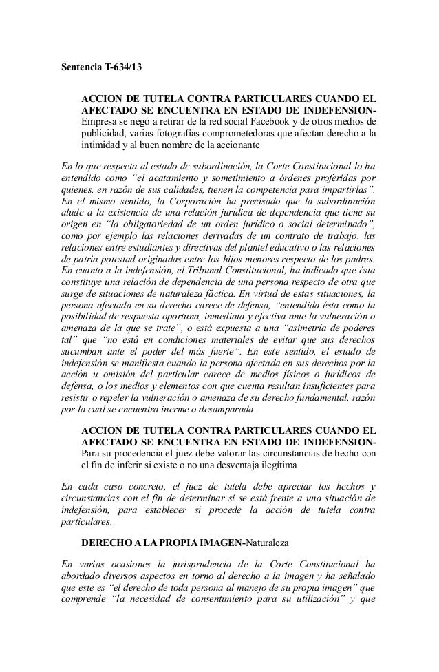 Sentencia T-634/13 ACCION DE TUTELA CONTRA PARTICULARES CUANDO EL AFECTADO SE ENCUENTRA EN ESTADO DE INDEFENSION- Empresa ...