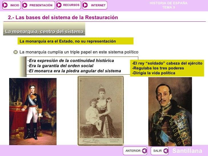 La monarquía, centro del sistema  2.-  Las bases del sistema de la Restauración La monarquía cumplía un triple papel en es...