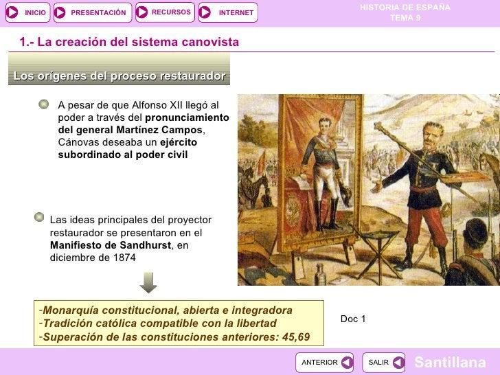 Los orígenes del proceso restaurador  1.-  La creación del sistema canovista A pesar de que Alfonso XII llegó al poder a t...