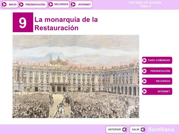 9 La monarquía de la Restauración PARA COMENZAR PRESENTACIÓN RECURSOS INTERNET