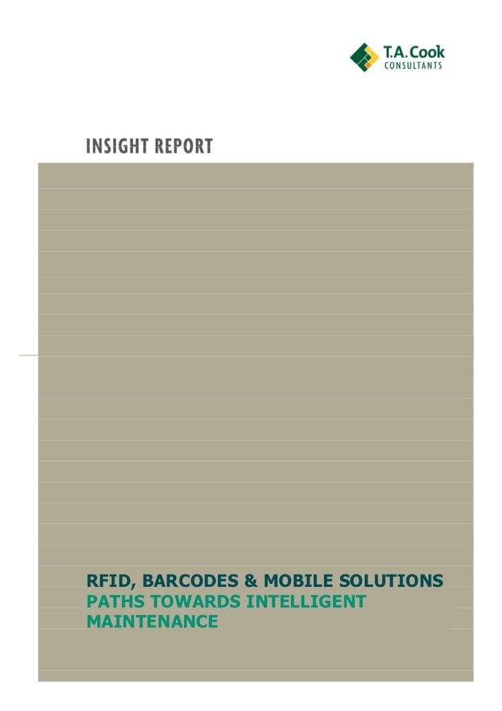 RFID, BARCODES & MOBILE SOLUTIONSPATHS TOWARDS INTELLIGENTMAINTENANCE