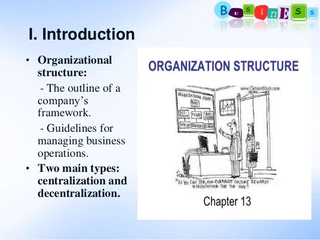 organizational decentralization Centralization and decentralization are two opposite ways to transfer decision-making power and to change the organizational structure of organizations accordingly centralization: definition : the process of transferring and assigning decision-making authority to higher levels of an organizational hierarchy.
