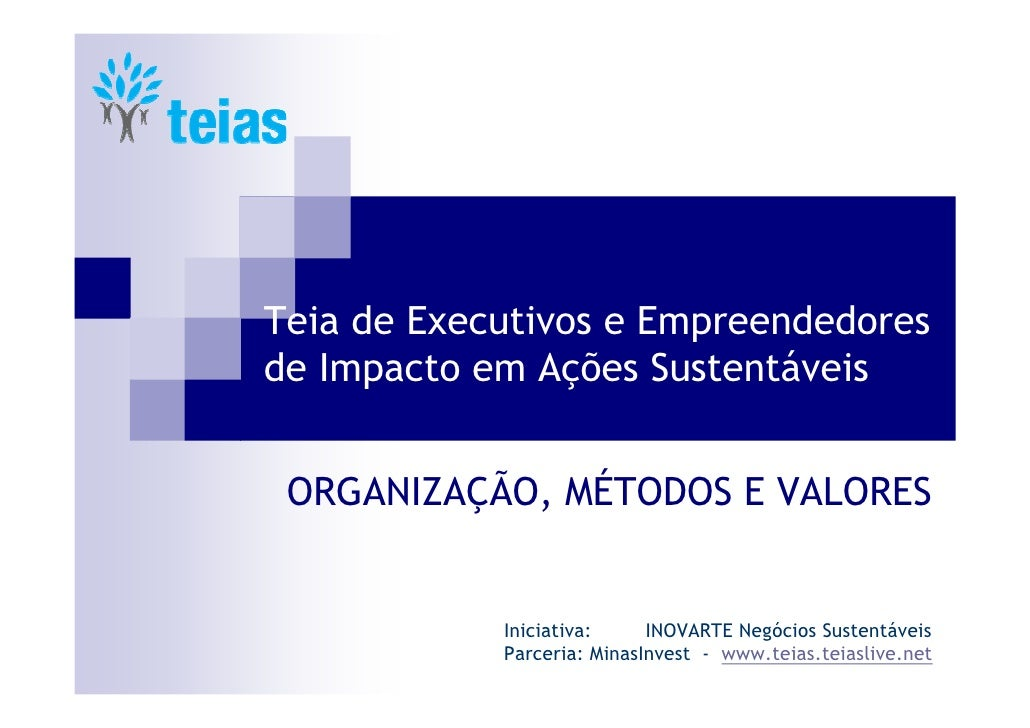 Teia de Executivos e Empreendedores de Impacto em Ações Sustentáveis    ORGANIZAÇÃO, MÉTODOS E VALORES               Inici...