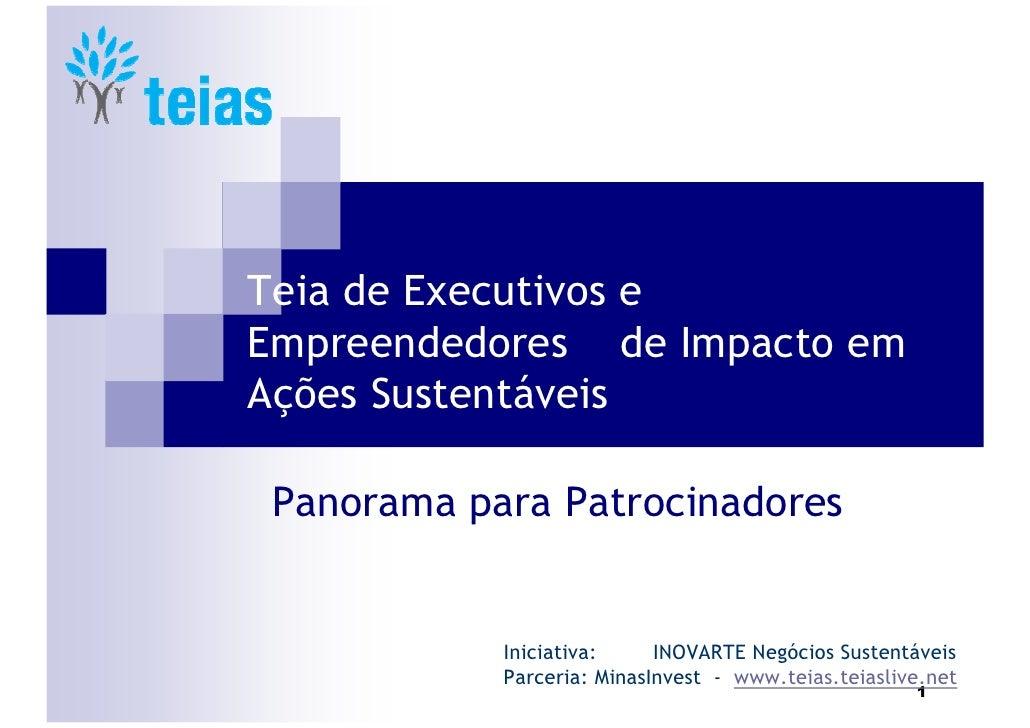 Teia de Executivos e Empreendedores de Impacto em Ações Sustentáveis   Panorama para Patrocinadores               Iniciati...