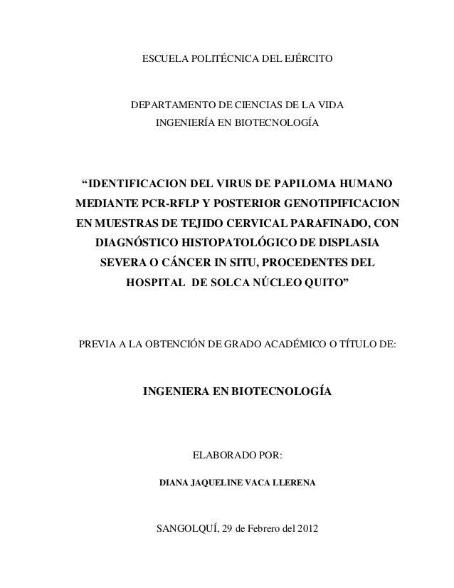 """ESCUELA POLITÉCNICA DEL EJÉRCITO DEPARTAMENTO DE CIENCIAS DE LA VIDA INGENIERÍA EN BIOTECNOLOGÍA """"IDENTIFICACION DEL VIRUS..."""