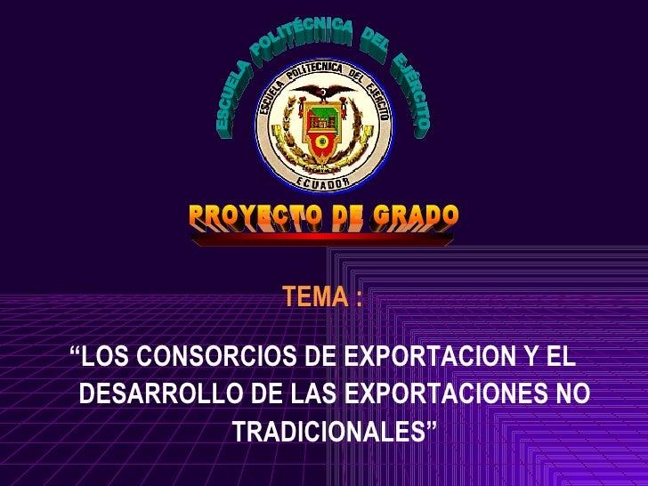 """TEMA :""""LOS CONSORCIOS DE EXPORTACION Y EL DESARROLLO DE LAS EXPORTACIONES NO           TRADICIONALES"""""""