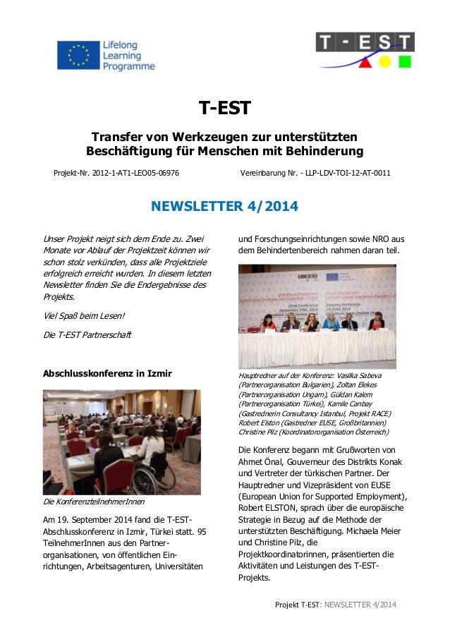 Projekt T-EST: NEWSLETTER 4/2014  T-EST  Transfer von Werkzeugen zur unterstützten  Beschäftigung für Menschen mit Behinde...