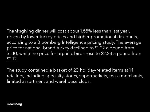 Thanksgiving dinner will cost about 1.58% less than last year, driven by lower turkey prices and higher promotional discou...