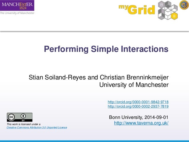 Performing Simple Interactions  Stian Soiland-Reyes and Christian Brenninkmeijer  University of Manchester  http://orcid.o...