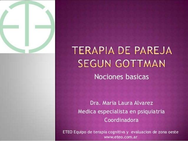 Nociones basicasDra. Maria Laura AlvarezMedica especialista en psiquiatriaCoordinadoraETEO Equipo de terapia cognitiva y e...