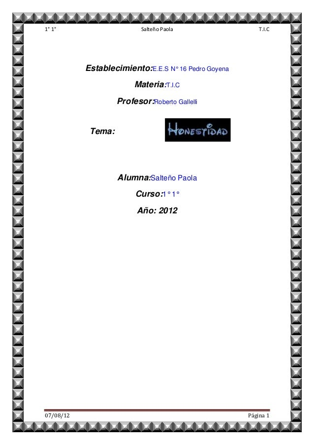1° 1°                      Salteño Paola                  T.I.C           Establecimiento:E.E.S N° 16 Pedro Goyena        ...