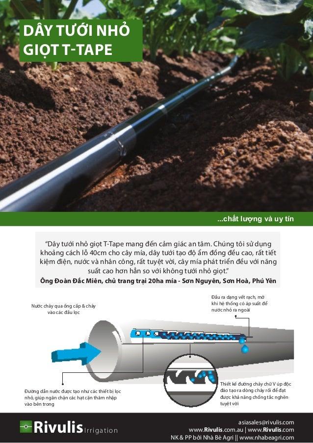Nước chảy qua ống cấp & chảy vào các đầu lọc Đầu ra dạng vết rạch, mở khi hệ thống có áp suất để nước nhỏ ra ngoài Đường d...