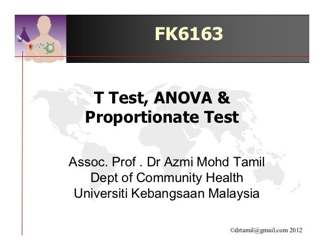 FK6163   T Test, ANOVA &  Proportionate TestAssoc. Prof . Dr Azmi Mohd Tamil   Dept of Community Health Universiti Kebangs...