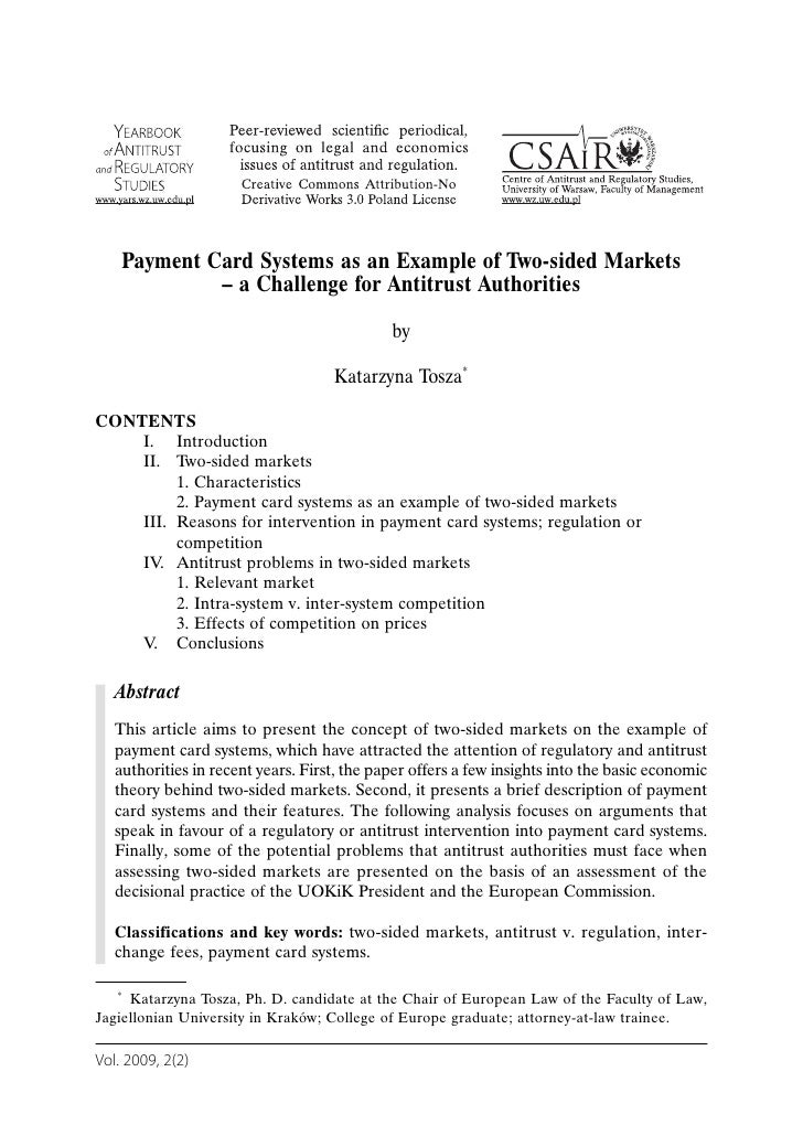 Payment Card Systems as an Example of Two-sided Markets              – a Challenge for Antitrust Authorities              ...