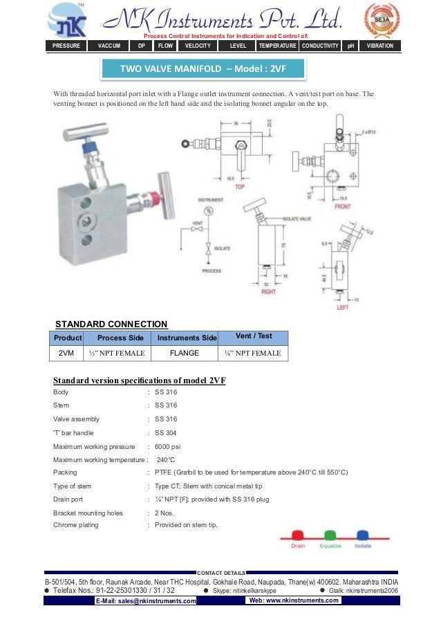 TWO VALVE MANIFOLD – Model : 2VF With threaded horizontal port inlet with a Flange outlet instrument connection. A vent/te...