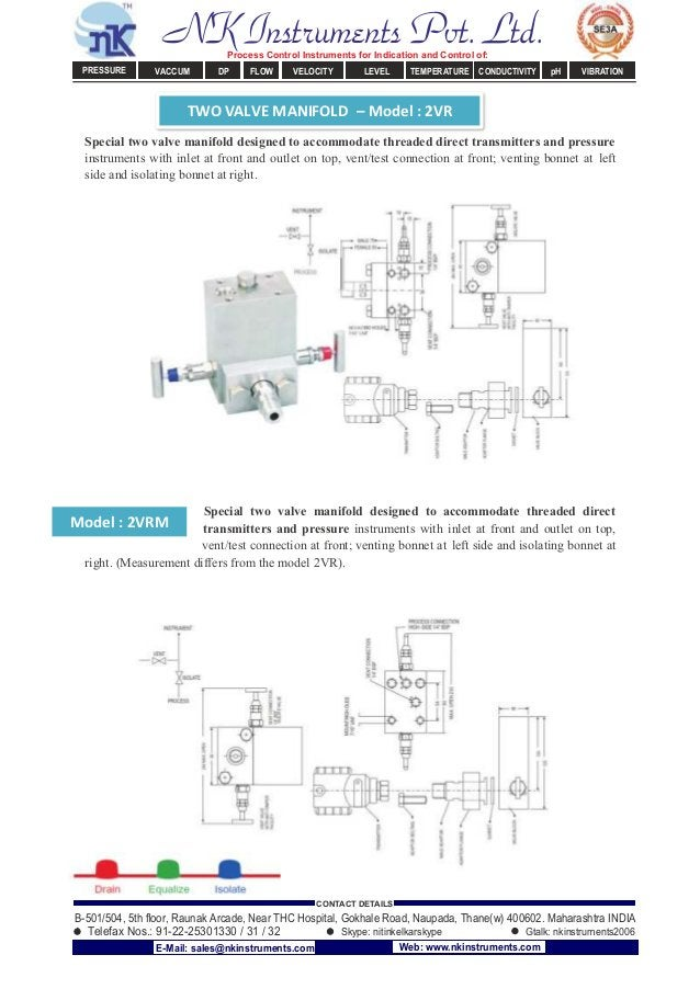 TWO VALVE MANIFOLD – Model : 2VR Model : 2VRM Special two valve manifold designed to accommodate threaded direct transmitt...