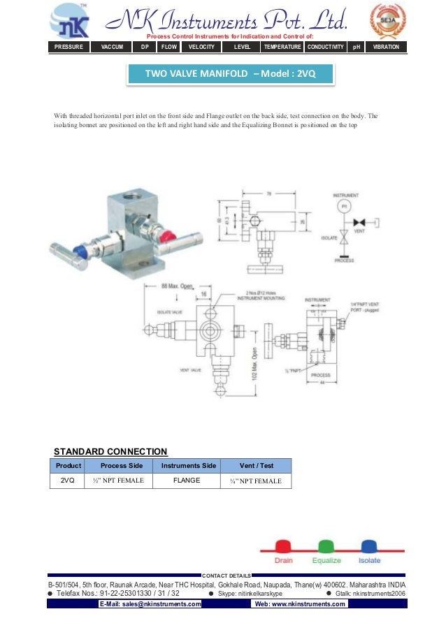TWO VALVE MANIFOLD – Model : 2VQ With threaded horizontal port inlet on the front side and Flange outlet on the back side,...