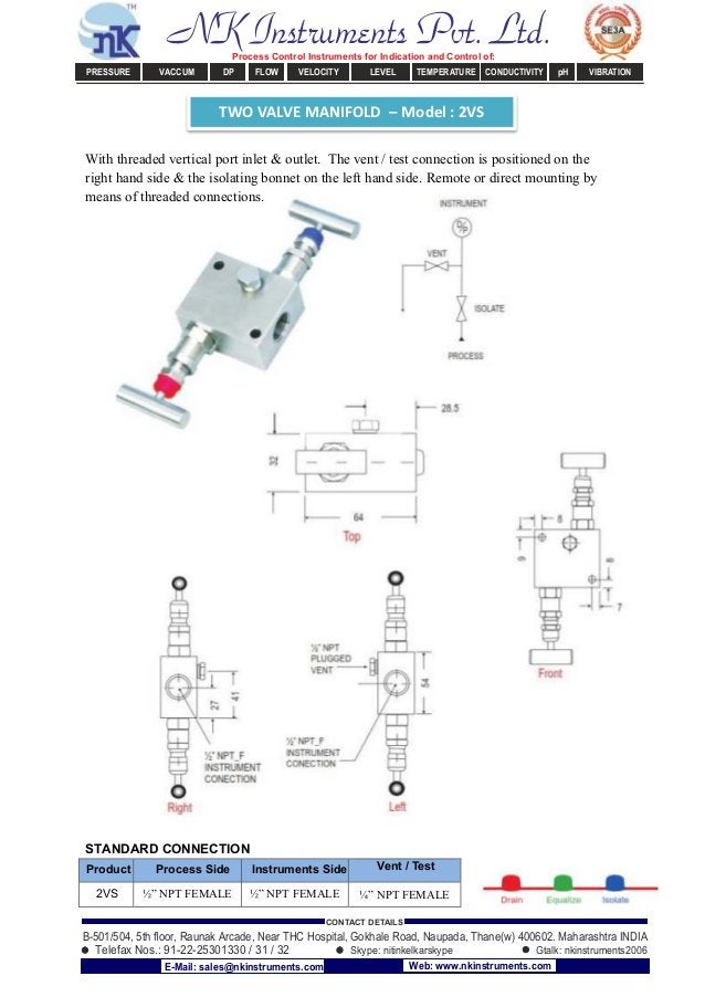 TWO VALVE MANIFOLD – Model : 2VS With threaded vertical port inlet & outlet. The vent / test connection is positioned on t...