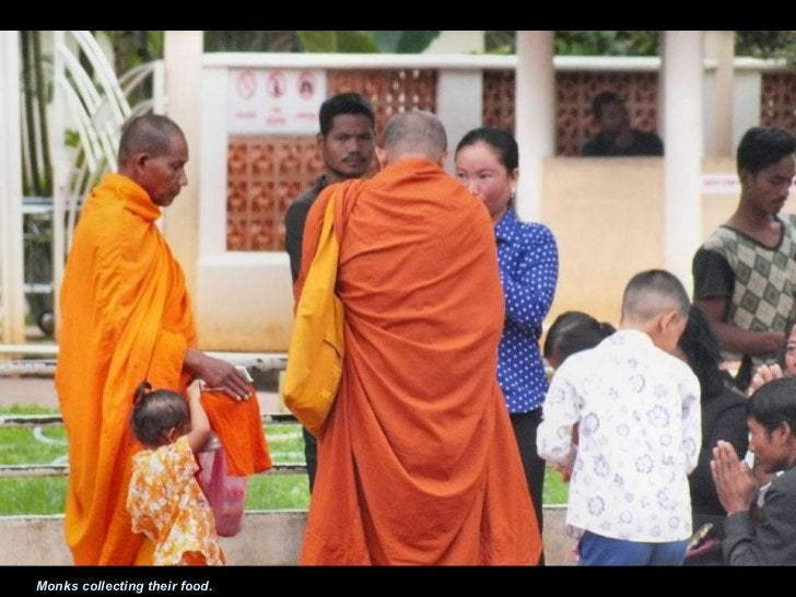 Monks collecting their food.