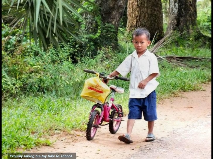Slide TitleSection Title                            Picture caption                Proudly taking his toy bike to school. ...