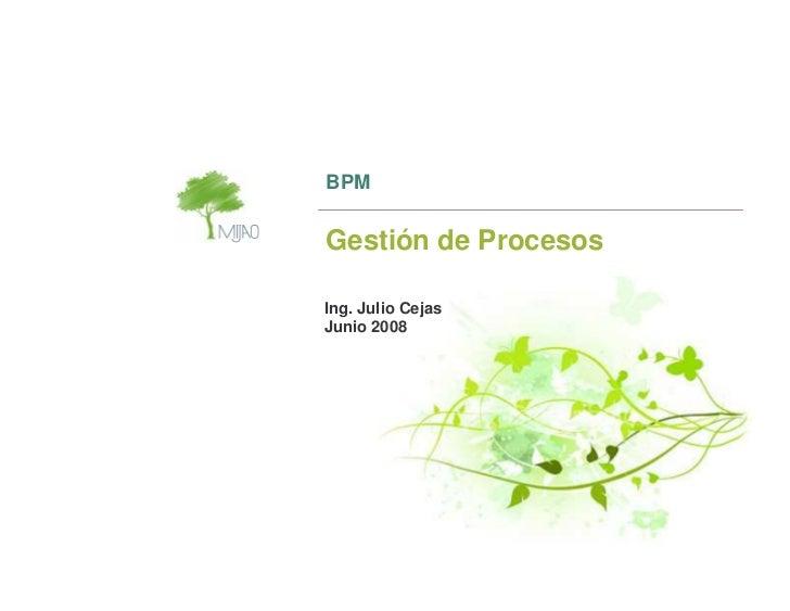 BPM   Gestión de Procesos  Ing. Julio Cejas Junio 2008