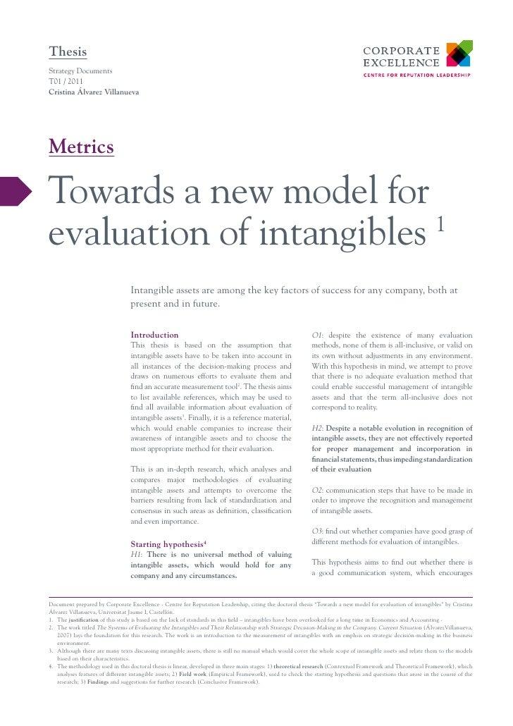 ThesisStrategy DocumentsT01 / 2011Cristina Álvarez VillanuevaMetricsTowards a new model forevaluation of intangibles 1    ...