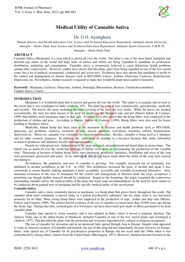 IOSR Journal of PharmacyVol. 2, Issue 3, May-June, 2012, pp.460-463                                 Medical Utility of Can...