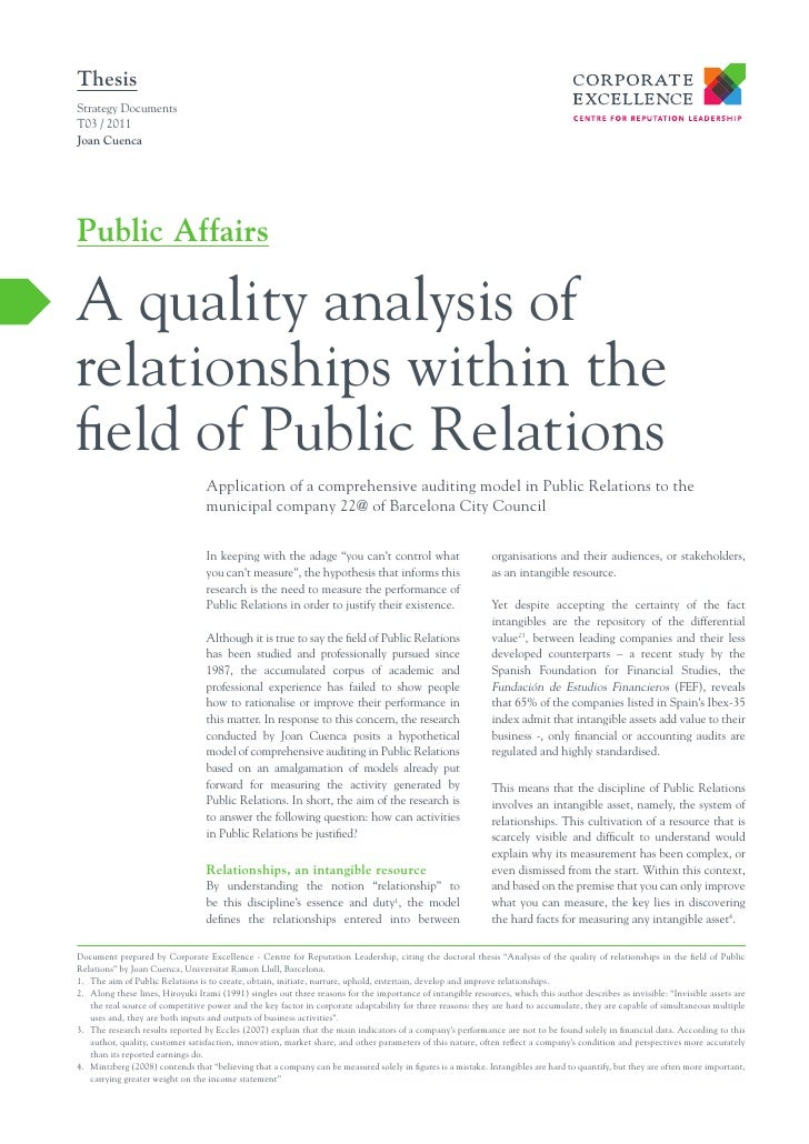 ThesisStrategy DocumentsT03 / 2011Joan CuencaPublic AffairsA quality analysis ofrelationships within thefield of Public Re...