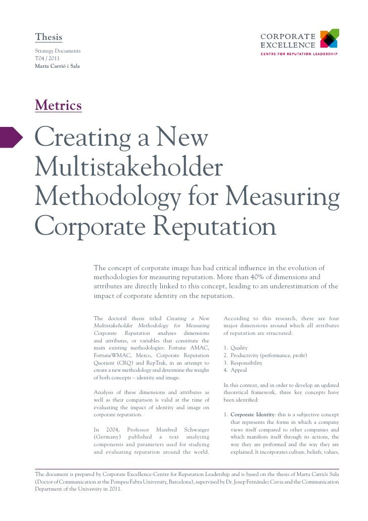 ThesisStrategy DocumentsT04 / 2011Marta Carrió i SalaMetricsCreating a NewMultistakeholderMethodology for MeasuringCorpora...
