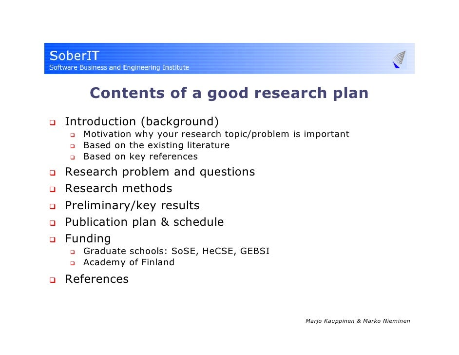 T  Research Plan