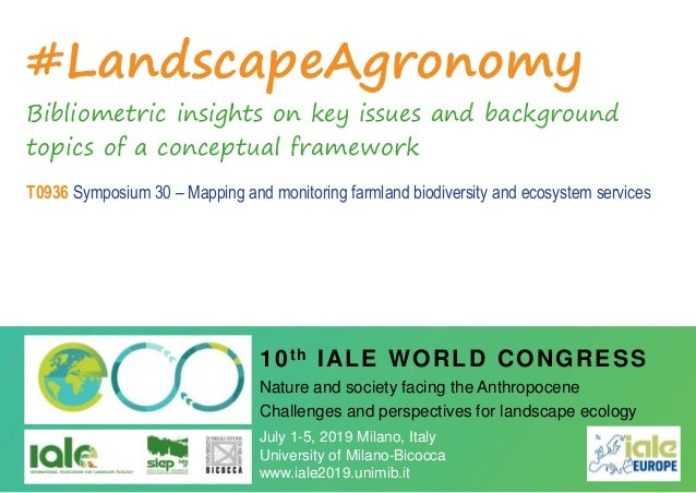 #LandscapeAgronomy Bibliometric insights on key issues and background topics of a conceptual framework T0936 Symposium 30 ...