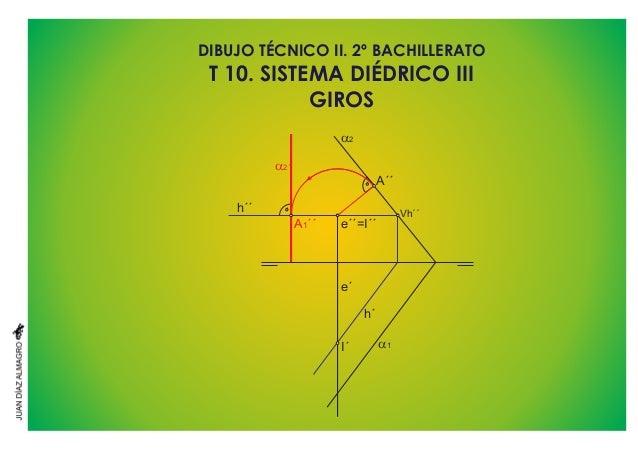 DIBUJO TÉCNICO II. 2º BACHILLERATO GIROS T 10. SISTEMA DIÉDRICO III a1 a2 a2´ e´ I´ h´´ A´´ A ´´1 Vh´´ h´ e´´=I´´