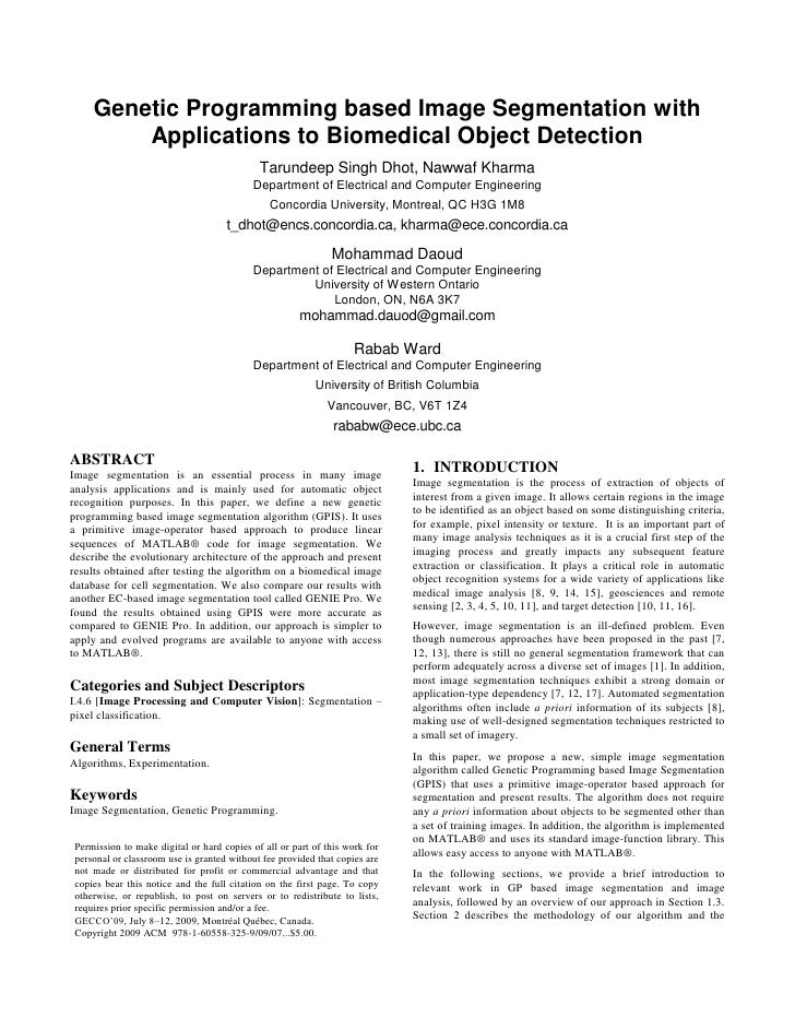 Genetic Programming based Image Segmentation with          Applications to Biomedical Object Detection                    ...