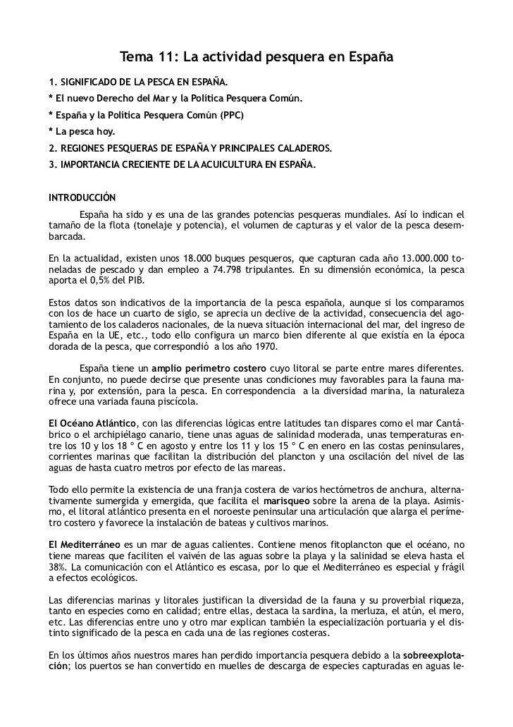 Tema 11: La actividad pesquera en España1. SIGNIFICADO DE LA PESCA EN ESPAÑA.* El nuevo Derecho del Mar y la Política Pesq...